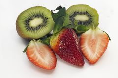 Sweet raspberry with the kiwi close up in my room Royalty Free Stock Image