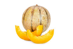 One whole and two Slices of Galia Charentais Melons Royalty Free Stock Photo