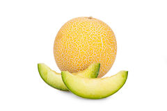 One whole and two Slices of Galia Melon Royalty Free Stock Image