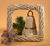 One Wicker Christmas Bell Royalty Free Stock Photo