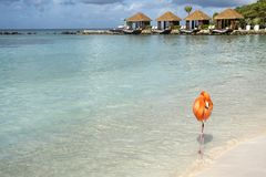 Free One Wild Pink Flamingo On A Caribbean Beach With Cabanas In The Background 2 Royalty Free Stock Photo - 131622115