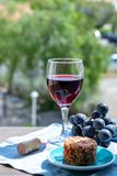 One wine glass with red wine served with red grape and soft goar cheese on outdoor terrace. One wine glass with red wine served with red grape and soft goat royalty free stock image