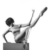 One woman ballerina ballet dancer dancing Royalty Free Stock Photo
