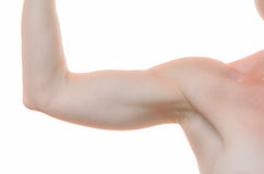 One woman bare shoulder and arm bent at the elbow Stock Photos