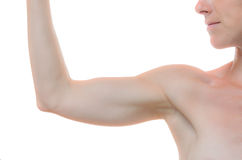 One woman bare shoulder and arm bent at the elbow Royalty Free Stock Photos