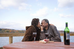 One woman kissing a man stock image