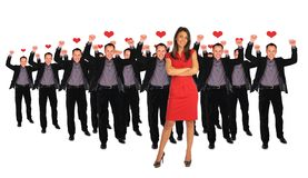 One woman and men collage Royalty Free Stock Image
