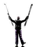 One woman skier happy joyful  silhouette Royalty Free Stock Image