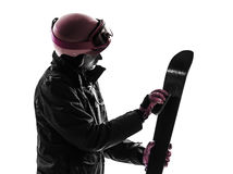 One woman skier polishing ski silhouette Royalty Free Stock Image