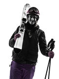One woman skier portrait  silhouette Royalty Free Stock Image