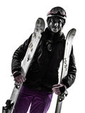 One woman skier portrait  silhouette Royalty Free Stock Photo
