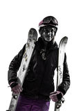 One woman skier portrait  silhouette Stock Photography
