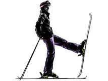 One woman skier resting silhouette Royalty Free Stock Photos