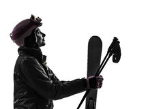 One woman skier  silhouette Stock Images
