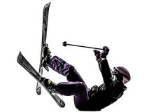 One woman skier skiing falling silhouette Royalty Free Stock Photo