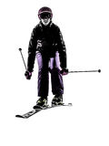 One woman skier skiing jumping silhouette Stock Photos