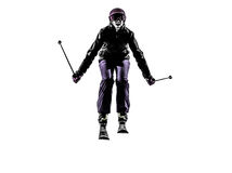 One woman skier skiing jumping silhouette Stock Photo