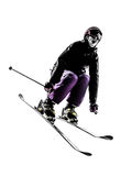 One woman skier skiing jumping silhouette Royalty Free Stock Photos