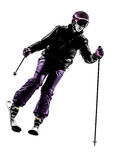 One woman skier skiing silhouette Royalty Free Stock Photo