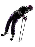 One woman skier skiing silhouette Royalty Free Stock Photos
