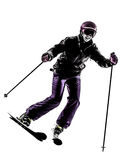 One woman skier skiing silhouette Royalty Free Stock Image