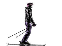 One woman skier skiing silhouette Stock Photography