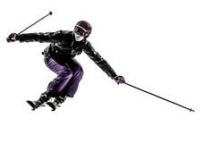 One woman skier skiing slaloming  silhouette Royalty Free Stock Photos