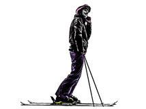 One woman skier skiing on the telephone silhouette Stock Image