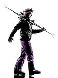 One woman skier  walking silhouette Stock Photography