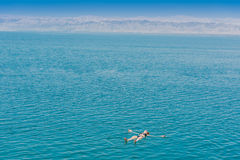 One woman swimming bathing Dead Sea Jordan Stock Photo