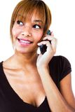 One woman talking on mobile phone Stock Photo