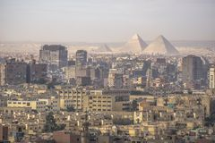 The great Pyramid of Giza and Sphinx, Cairo, Egypt. stock photo