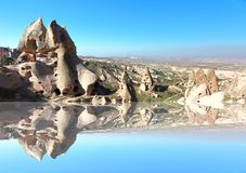 One of the wonders of the world ,Cappadocia, Turkey. In the reflection Royalty Free Stock Photo
