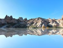 One of the wonders of the world ,Cappadocia, Turkey. In the reflection Stock Images