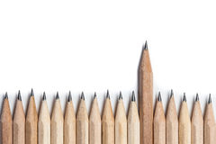 One wood pencil standing out from the row Royalty Free Stock Image