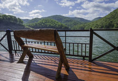 One wooden bench on raft Royalty Free Stock Image