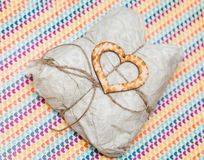 One wooden heart and present Stock Image