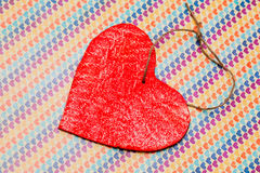 One wooden red heart Royalty Free Stock Photos