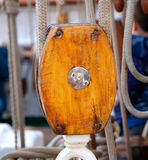 One wooden snatch block Stock Images