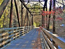 Virginia Creeper Trail. One of the wooden and steel trestles crossing Whitetop Laurel Creek along the Virginia Creeper Trail VCT. The VCT, a 34 mile rail trail royalty free stock photos