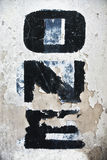 One word on eroded wall Stock Image