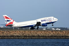 One World British Airways Boeing 747 taking off. Royalty Free Stock Photos