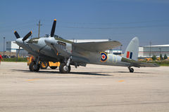 Only one in the world flying De Havilland DH.98 Mosquito towed for demo flight Stock Image