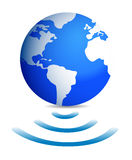One world globe with wireless connection Stock Photography
