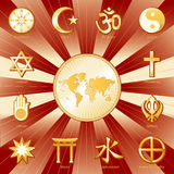 One World, Many Faiths. World Map with 12 world religions & titles in a red & gold: Judaism, Sikhism, Islam, Christianity, Hinduism, Taoism, Baha'i, Buddhism Stock Photos