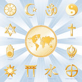 One World, Many Faiths, Blue & Gold. World Map with 12 world religions & titles in a blue and gold medallion: Judaism, Sikhism, Islam, Christianity, Hinduism Stock Images
