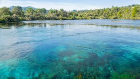 One of the world´s clearest water Waikoropupū Springs, New Zealand stock photos