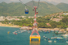 One of the world`s longest cable car over sea leading to Vinpear Stock Photos