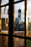 Lower Manhattan Skyline Afternoon Window Royalty Free Stock Photography