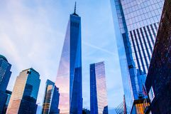 One world trade center, memorial square ground zero New York Stock Photo